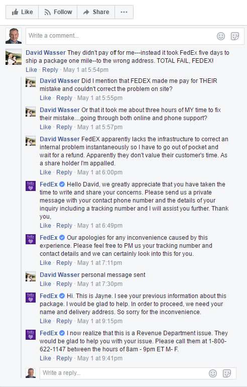Fed Ex on Facebook with a negative review - part I