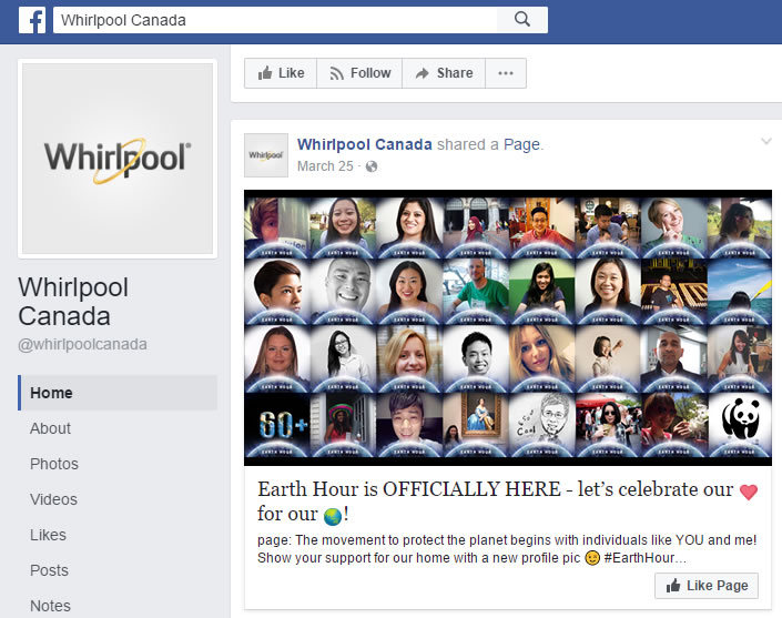 A Facebook snapshot of the Whirlpool Account