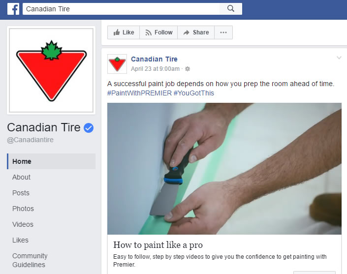 A Facebook snapshot of the Canadian Tire Account