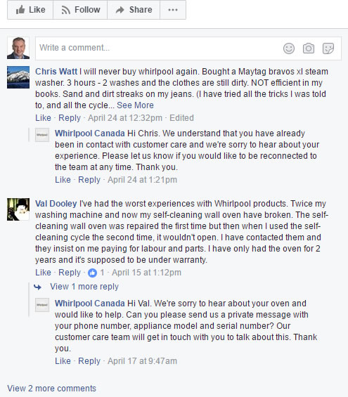 Whirlpool on Facebook with a negative review - part I
