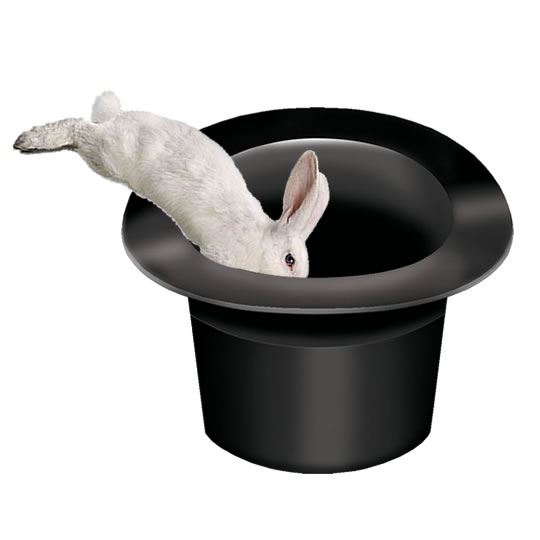 White Rabbit Jumping Into A Black Top Hat