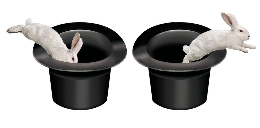 Image of two top hats with rabbits jumping in and out of them
