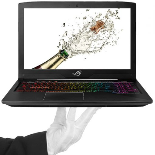 White Glove Holding A Laptop with Champagne Popping